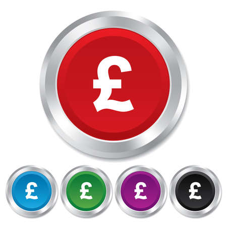 Pound sign icon. GBP currency symbol. Money label. Round metallic buttons. Stock Photo