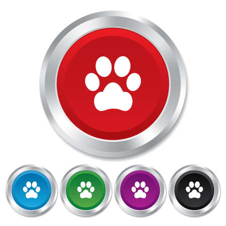 dog allowed: Dog paw sign icon. Pets symbol. Round metallic buttons.
