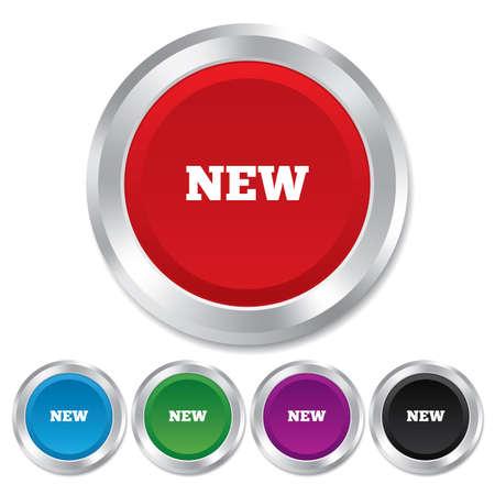 Neue Zeichen-Symbol. Neue Ankunft Knopf-Symbol. Runde Metallknöpfe.