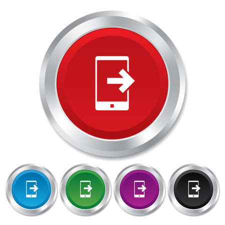 outcoming: Outcoming call sign icon. Smartphone symbol. Round metallic buttons.