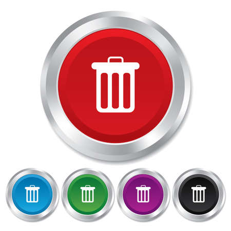 Recycle bin sign icon. Bin symbol. Round metallic buttons.
