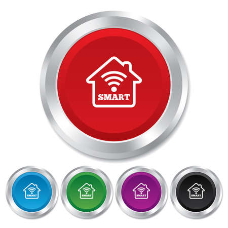 Smart home sign icon. Smart house button. Remote control. Round metallic buttons.