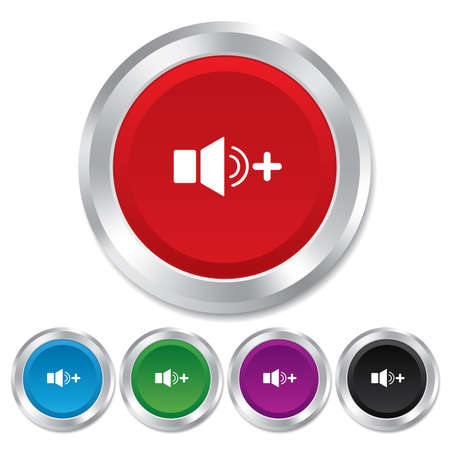 louder: Speaker volume louder sign icon. Sound symbol. Round metallic buttons.