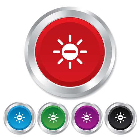 metallic  sun: Sun minus sign icon. Heat symbol. Brightness button. Round metallic buttons.