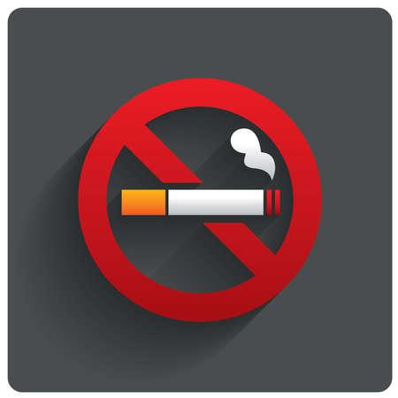 Muestra de no fumadores. No aparece el icono de humo. Deje de fumar símbolo. la ilustración. Cigarrillo con punta de filtro. Icono para lugares públicos. Foto de archivo