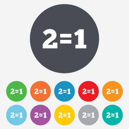 equals: Two for one sign icon. Take two pay for one sale button. 2 equals 1. Round colourful 11 buttons. Vector