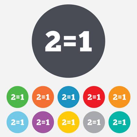 equals: Zwei f�r einen Zeichen-Symbol. Nehmen Sie zwei Lohn f�r einen Verkauf-Taste. 2 ist gleich 1. Runde bunten 11-Tasten. Vektor