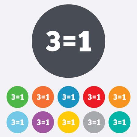 equals: Drei f�r eine Zeichen-Symbol. Nehmen Sie drei Lohn f�r einen Verkauf-Taste. 3 ist gleich 1. Runde bunten 11-Tasten. Vektor