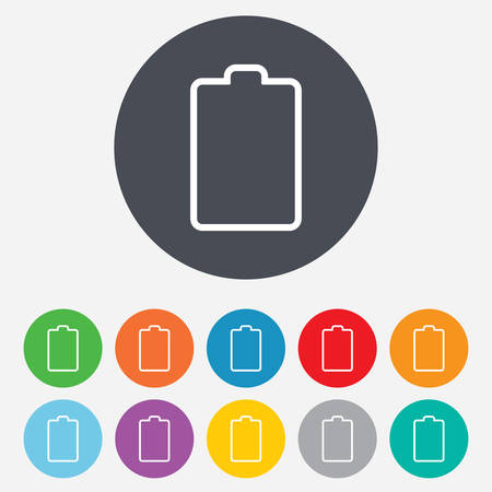 Battery empty sign icon. Low electricity symbol. Round colourful 11 buttons. Vector Stock Vector - 25355407