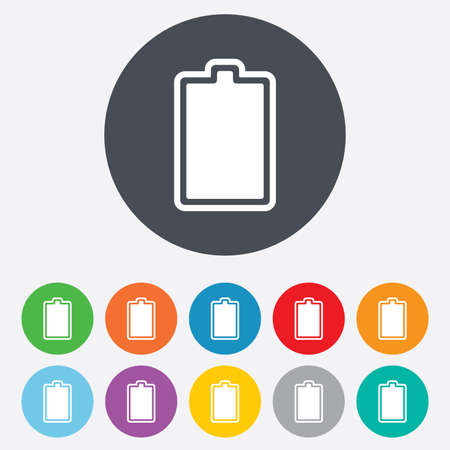 fully: Battery fully charged sign icon. Electricity symbol. Round colourful 11 buttons. Vector