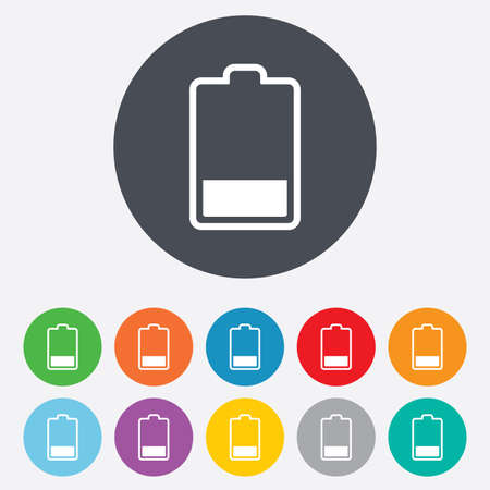 Battery low level sign icon. Electricity symbol. Round colourful 11 buttons. Vector Vector