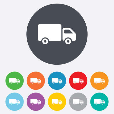 Delivery truck sign icon. Cargo van symbol. Round colourful 11 buttons. Vector