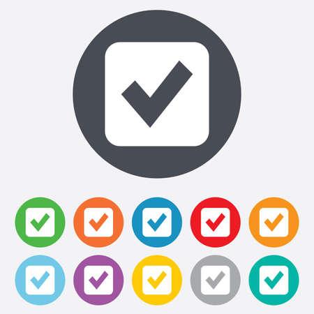 Check mark sign icon. Checkbox button. Round colourful 11 buttons. Vector
