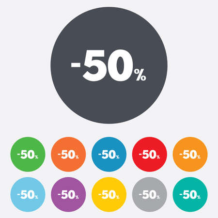 50 percent discount sign icon. Sale symbol. Special offer label. Round colourful 11 buttons. Vector Vector