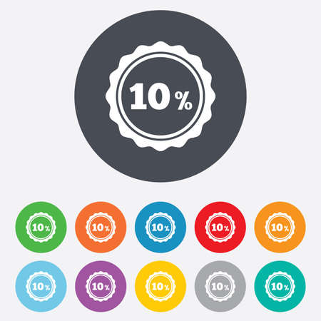 ten best: 10 percent discount sign icon. Sale symbol. Special offer label. Round colourful 11 buttons. Vector