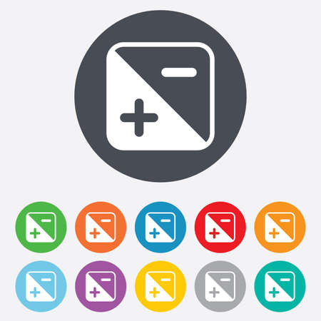 luminance: Exposure photo camera sign icon. Quantity of light settings. Round colourful 11 buttons. Vector