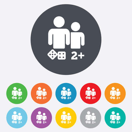 Board games sign icon. Two plus players symbol. Dice sign. Round colourful 11 buttons. Vector Vector