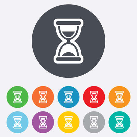 sandglass: Hourglass sign icon. Sand timer symbol. Round colourful 11 buttons. Vector Illustration