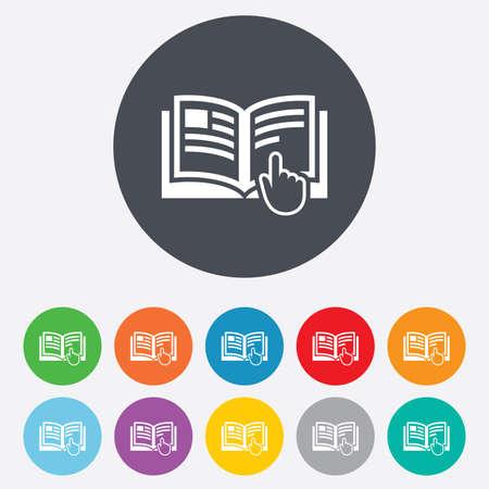 instru��o: �cone do sinal de Instru��o. S�mbolo livro Manual. Leia antes de usar. Rodada coloridos 11 bot�es. Vetor