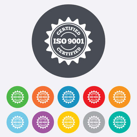 iso: ISO 9001 certified sign icon. Certification star stamp. Round colourful 11 buttons. Vector