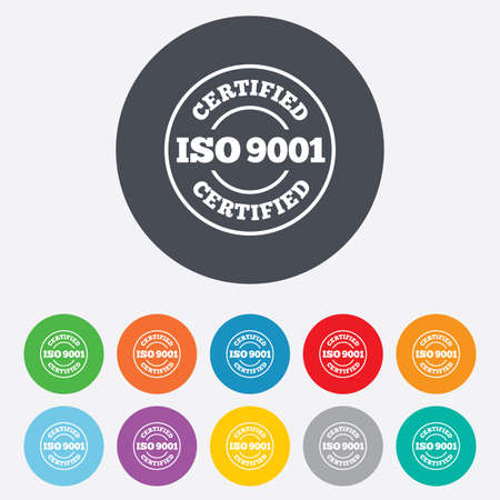ISO 9001 certified sign icon. Certification stamp. Round colourful 11 buttons. Vector Vector