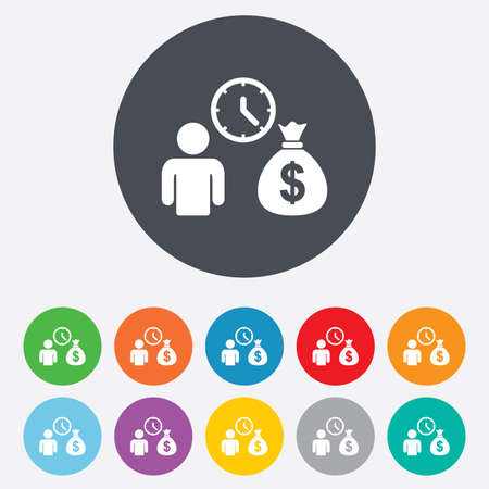 borrow: Bank loans sign icon. Get money fast symbol. Borrow money. Round colourful 11 buttons. Vector