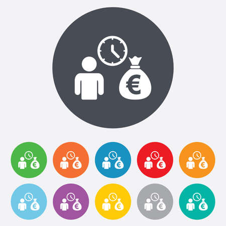 fast money: Bank loans sign icon. Get money fast symbol. Borrow money. Round colourful 11 buttons. Vector