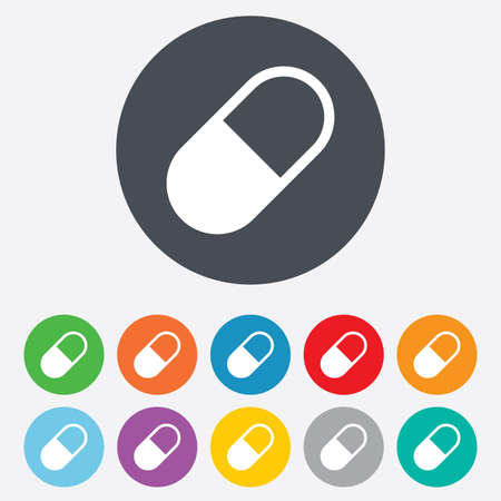 Medical pill sign icon. Drugs symbol. Round colourful 11 buttons. Vector Vector