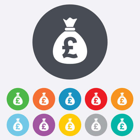 Money bag sign icon. Pound GBP currency symbol. Round colourful 11 buttons. Vector Illustration