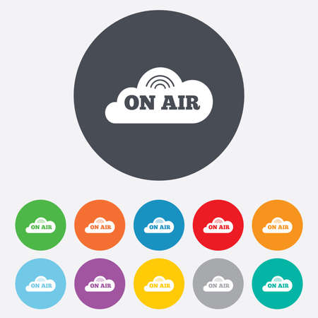on air sign: On air sign icon. Live stream symbol. Round colourful 11 buttons. Vector