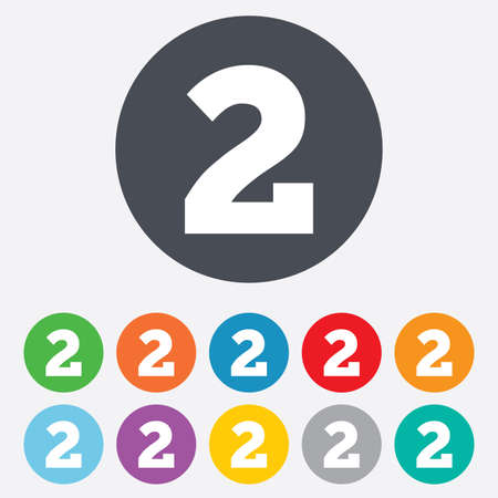Second place award sign. Winner symbol. Step two. Round colourful 11 buttons. Vector Vector