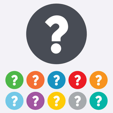 navigation mark: Question mark sign icon. Help symbol. FAQ sign. Round colourful 11 buttons. Vector