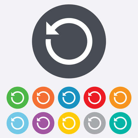 Repeat icon. Refresh symbol. Loop sign. Round colourful 11 buttons. Vector Illustration