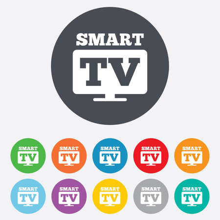 set de television: Icono de signo Widescreen Smart TV. S�mbolo televisor. Ronda de colores 11 botones. Vector Vectores