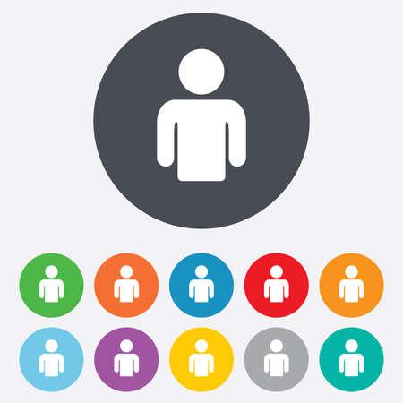signe de l'utilisateur icône. symbole de la personne. Avatar humain. Round colorés 11 boutons. Vecteur