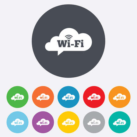 wifi sign: Free wifi sign. Wifi symbol. Wireless Network icon. Wifi zone. Round colourful 11 buttons. Vector