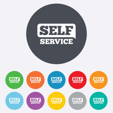 Self service sign icon. Maintenance button. Round colourful 11 buttons. Vector Vector