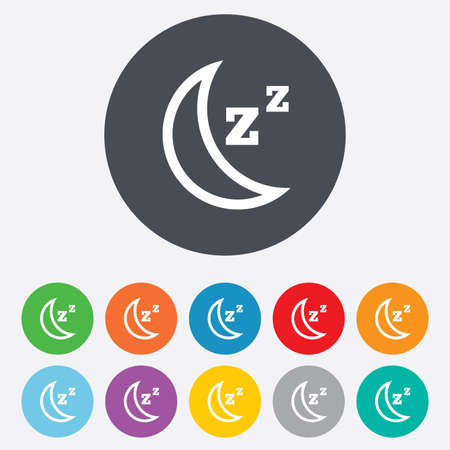 standby: Sleep sign icon. Moon with zzz button. Standby. Round colourful 11 buttons. Vector