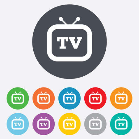 Retro TV sign icon. Television set symbol. Round colourful 11 buttons. Vector Vector
