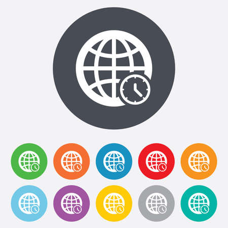 ut: World time sign icon. Universal time globe symbol. Round colourful 11 buttons. Vector Illustration