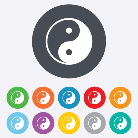 Ying yang sign icon. Harmony and balance symbol. Round colourful 11 buttons. Vector Vector