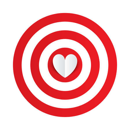 Paper heart in the center of darts target aim. Valentines day card on white background. Vector illustration Vector