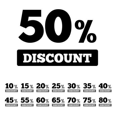 Sale discounts stamps. Special offer stickers. Icons with percents from 10 till 80. Bargain sale labels. Vector. Vector