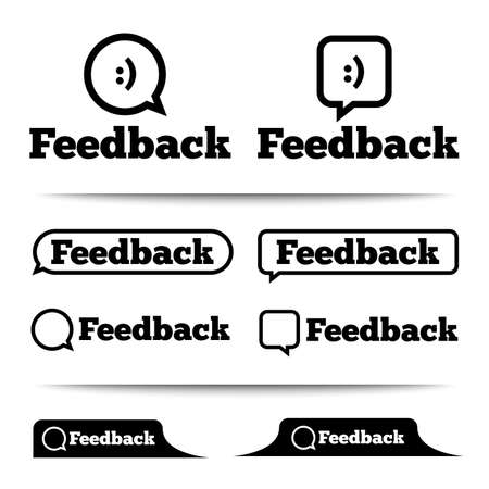 Feedback labels. Feedback tags on the page. Feedback tab. Speech bubble. Vector illustration. Vector