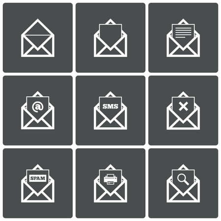 Mail icons. Mail search symbol. Print. Spam. Letter in envelope. Set of signs for messages. Vector illustration. Vector