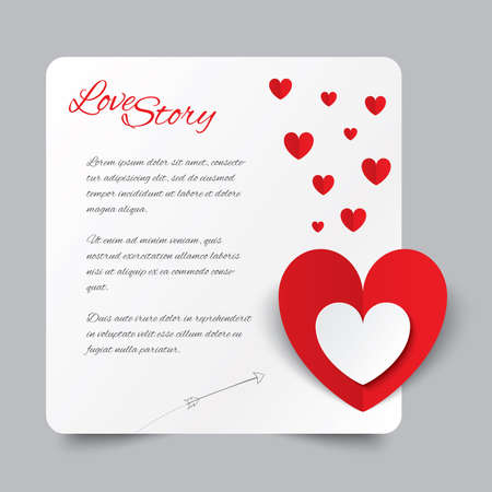 Red paper heart Valentines day card. Love story letter. Cut from paper.  illustration illustration