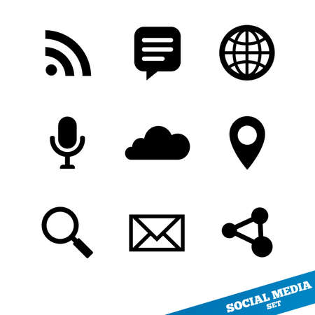 Social media icons. Flat icons. Black signs for app.  illustration.