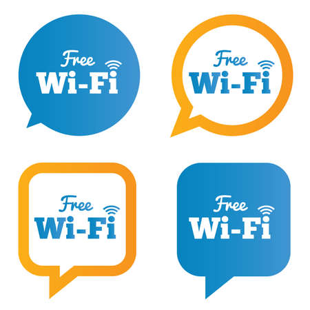 Wifi speech bubbles. Free wifi symbols. Wireless Network icons. Wifi zone.  illustration. Stock Illustration - 25416199