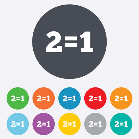 equals: Two for one sign icon. Take two pay for one sale button. 2 equals 1. Round colourful 11 buttons.