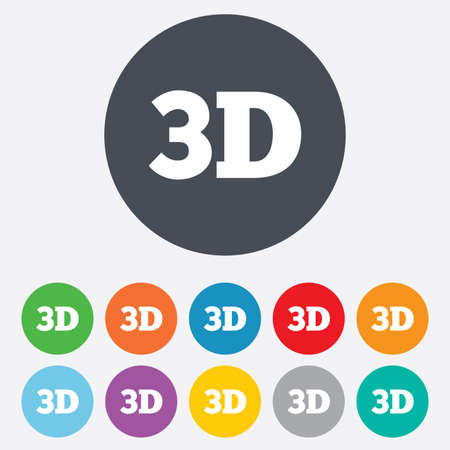 3D sign icon. 3D New technology symbol. Round colourful 11 buttons. photo